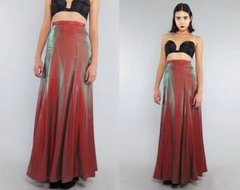 Vtg 80s Iridescent Flowy Supermodel Length Maxi Skirt Gown S