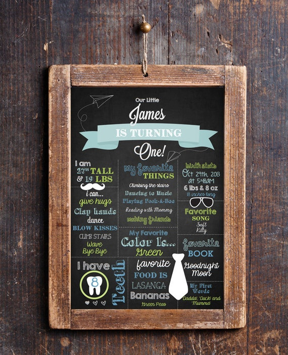 Chalkboard First Birthday Party Poster 11x16 - First Birthday Sign ...