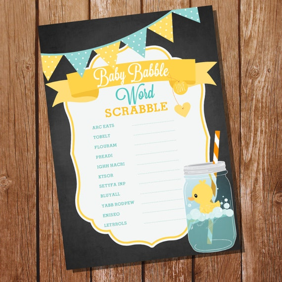 Rubber Duck Baby Shower Party Game Baby Babble Word Scrabble