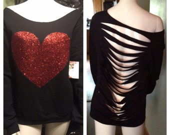 PLUS SIZE Off Shoulder red Glitter Heart Black Sweatshirt with a slashed or solid back (also available in S M L XL)