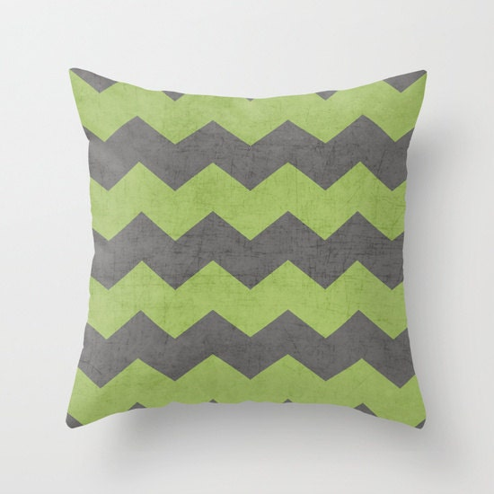 Green Throw Pillows Etsy : Chevron Green and Gray Throw Pillow by LushTartArtProject on Etsy