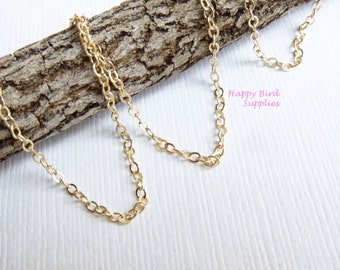 14kt Gold Filled Unfinished 1.5mm Flat Cable Chain...  3 feet.... 5 feet... 10 feet...  Heavier upgraded... Chain by the foot