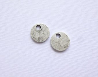 Antiqued Silver Small Circle Stamping Blank -- 2 pieces -- 15g Nunn Design Cast Pewter