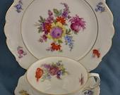 Tea Cup Trio Three Piece Luncheon Set, Johann Seltmann Floral Rose Teacup Saucer Salad Plate Set Tea Party Decor Gifts Under 30