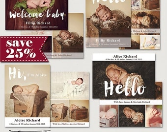 ON SALE! 7x5in Birth Announcement flat card , Photography Templates, psd PhotoshopTemplates, Bundle