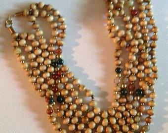 Vintage Multi Strand &  Multi Colored Tourmaline Gemstone Bead Necklace