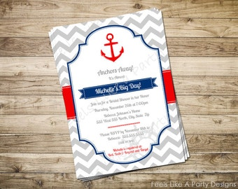 Nautical Bridal Shower Custom Party Invite with Anchor