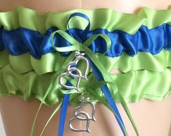 Apple Green and Royal Blue Wedding Garter, Bridal Garter Sets, Keepsake Garter,  Wedding