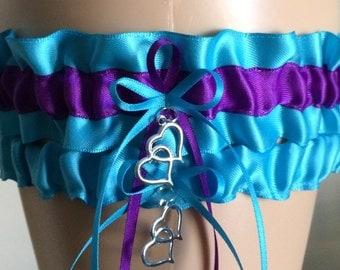 Turquoise and Purple Wedding Garter Set, Bridal Garter Set, Keepsake Garter,  Available