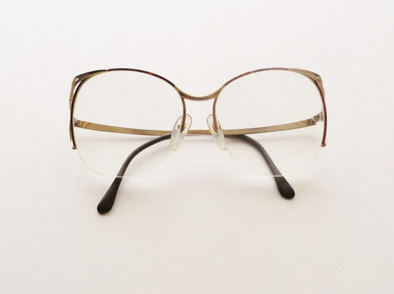 Tortoise Shell Glasses Half Frame : 1980s Oversized Eyeglasses Hollywood Diva Frames Half