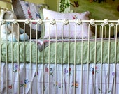 Reserved for Christin!  3 Piece Set - Shabby Chic Crib Bedding, Linen Baby Bedding, Vintage Hand Embroidered Flowers