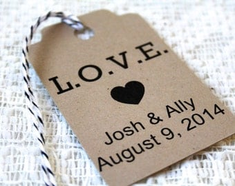LOVE, MEDIUM, Wedding Favor Tags, Paper Tags, Personalized Wedding Favor Tag