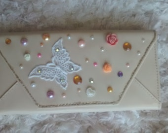 Cream embellished purse/clutch