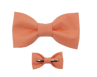 Creamsicle Clip On Cotton Bow Tie Bowtie ~ Choose Men or Boys Sizes ~ Wedding / Ring Bearer / Fathers Day
