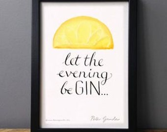 Let The Evening Be Gin Print (lemon)