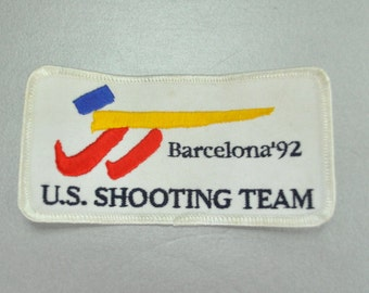 US Summer Olympic 1992 Shooting Team Barcelona Set of 3 Souvenirs Jacket Patch Keyfob and Pin