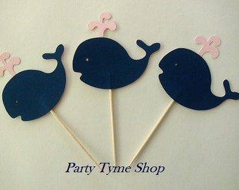 12 Navy Blue and Light Pink Nautical Cupcake Toppers, Whale