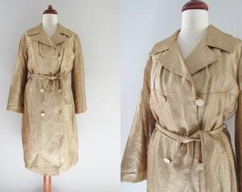 60s Johnnye Golden Coat, S // Vintage Metallic Gold Glittering Party Trenchcoat