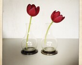 vintage bulbous glass with silver base bud vase or cruet pair of 2  Silver Style Studio