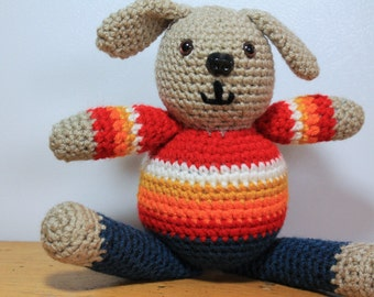 Fat Little Dog, Crochet Amigurumi Plushie, Dog in a Sweater Original Soft Toy, New Best Friend, Ready to Ship for Christmas, Big Belly Puppy