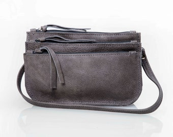 Dark Gray Leather CrossBody Bag -  Soft Leather Bag - Detachable Pouches - Removable Strap - HandMade by MaykoBags