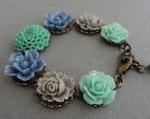 Pastel Flower Bracelet Blue Green Rose Bracelet Shabby Cottage Chic Garden Charm Bracelet Mint Chambray Gray Floral Vintage Retro Bracelet