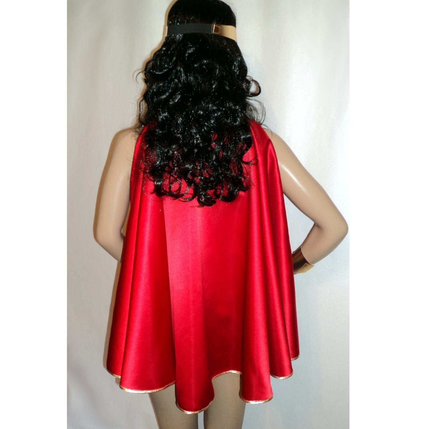 Wonder Woman Super Girl Hero Costume Red Or Blue Satin Cape-3551