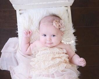 Vintage Floral Rosette Headband, Baby Headband, Tan Headband, Photography Prop