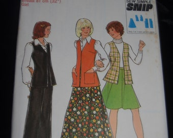 Style 1257 Girls Skirt in two lengths Sleeveless Cardigan and Trousers Sewing Pattern - UNCUT - Size 8 orSize 10 or  Size 14