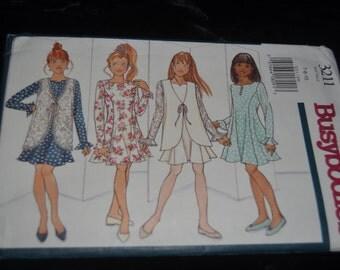 Butterick 3211 Girls Vest and Dress Sewing Pattern - UNCUT -Sizes 7 8 10