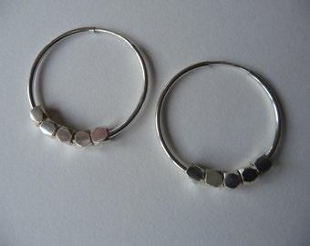 Silver hoop and nugget earrings