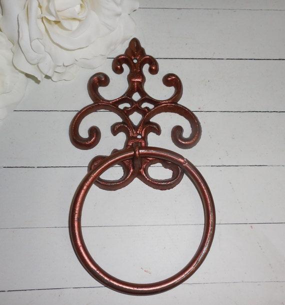 Copper hand towel ring fleur de lis holder cast iron - Fleur de lis bath towels ...
