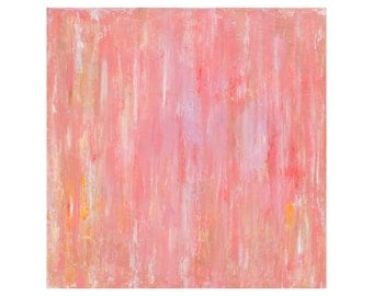 Abstract Painting Coral Pink Wall Decor Shabby Chic Home Decor Coral Pink Peach 20 x20 Canvas Art by Nacene Prchal