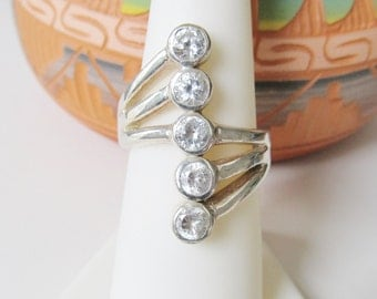 Sterling Silver Crystal Ring Women's Ring Size 7.25 Vintage Rings Women's Jewelry