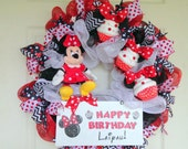 Minnie Mouse Happy Birthday Wreath - Must read shop annoucement before purchasing