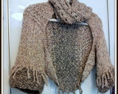 SWEATER WOMEN KNITTED Shrug Arm cover Sleeves Hand Made Cowl Scarf  Chunky Soft