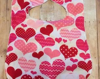 Valentine bib, heart bib, pink bib, baby bib