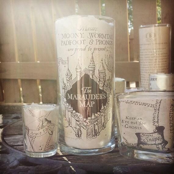 marauder's map candle holder, Harry potter candle holder