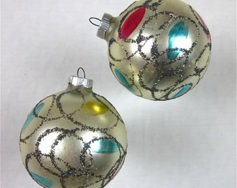 Vintage Christmas Ornament Balls, Set of Two