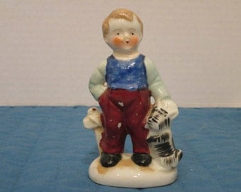 Vintage Collectible Hummel Type Boy and His Dog Figurine / Made In Occupied Japan