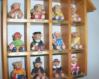 Vintage Calendar Miniature Bear House Wall Hanging Months Year