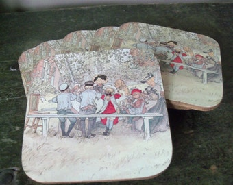 Vintage Set of 6 Coasters Cork Backed Schoolchildren