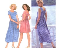 Pullover Dress Pattern Simplicity 9633 Size 12-14-16 Bust 34-38 Round Front Neck Full Gathered Skirt Elasticized Back Inset Uncut