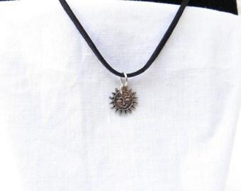 Sun  Necklace / Black Suede leather / Jewelry / women's jewelry / men's jewelry / teen Jewelry/ kids / boys jewelry / girls / men / women