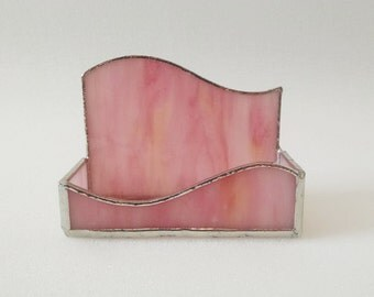 Business Card Holder - Custom Made in the Color of your Choice - Stained Glass - Wave Design - Desk Accessory - Office Decor - Desk Set