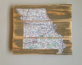 Missouri Map Art, Decoupage Map of Missouri on Reclaimed Wood