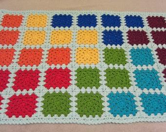 bright rainbow baby blanket - tetris inspired baby blanket - crochet baby blanket - handmade by RockinLola