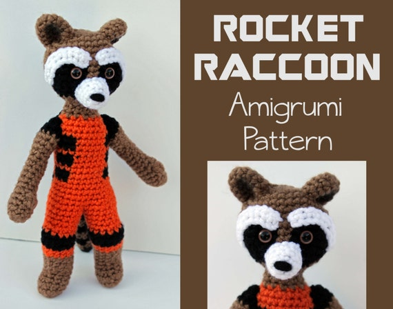 Amigurumi Raccoon Pattern Free : Crochet Pattern: Rocket Raccoon Amigurumi PDF Instant Download
