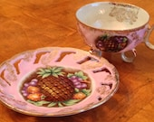 Royal Halsey RYH14 Three-Footed Purple-Pink Luster Teacup and Pierced Saucer Set