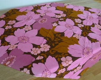 Scandinavian floral vintage table cloth fabric Finland 1970 Pink Brown